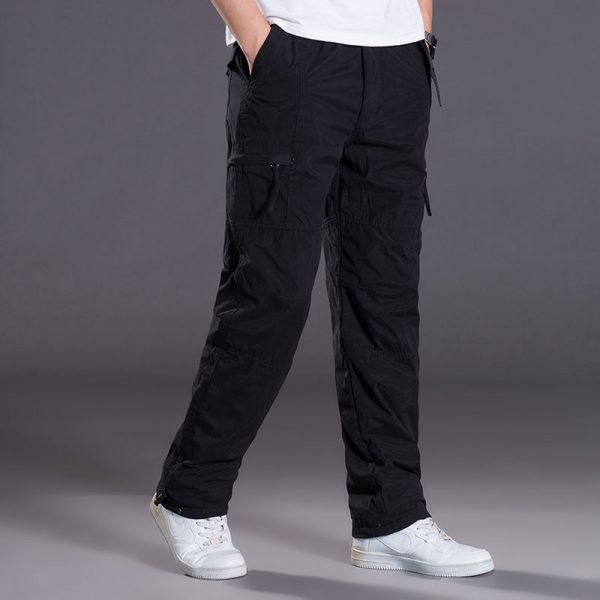 Double Layer Men's Cargo Pants Warm Baggy Pants