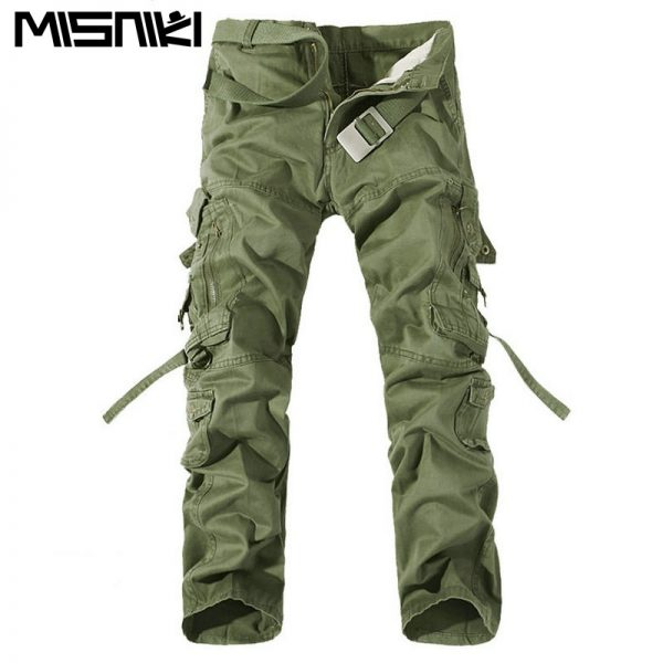 Multi-Pocket Solid Men's Cargo Pants Man Trousers