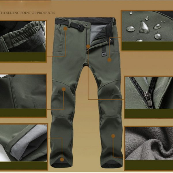 Waterproof Casual Pants Fleece Shark Skin Trousers