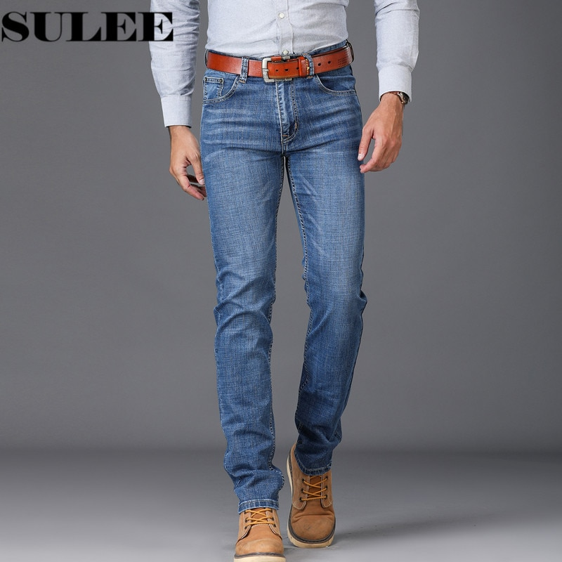 Fashion High Stretch Jeans Blue Straight Jeans