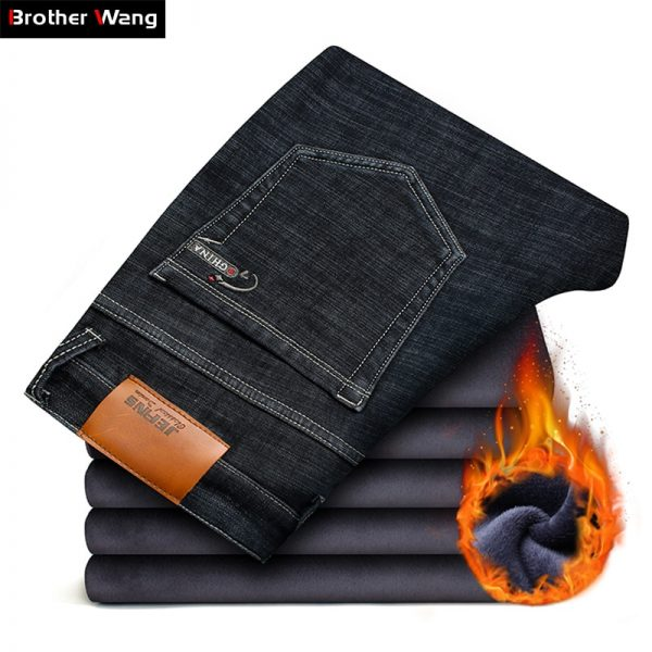Men's Warm Jeans Elasticity Thicken Denim Pants
