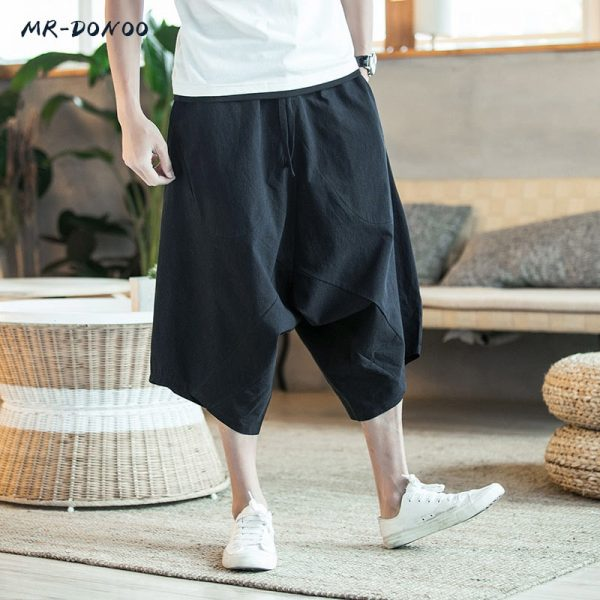 Men's Wide Crotch Harem Pants Large Cropped Trousers