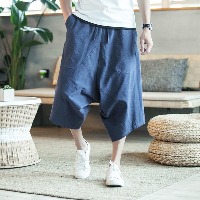 Men's Wide Crotch Harem Pants Large Cropped Trousers
