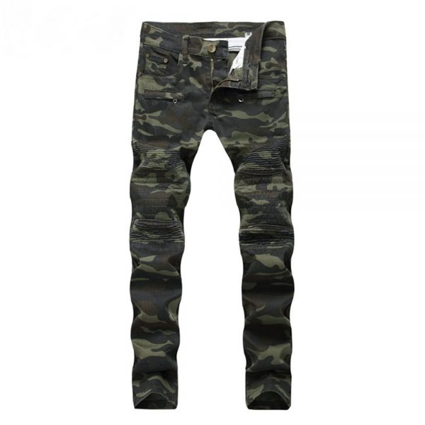 Men Camouflage Jeans Biker Hip Hop Jeans