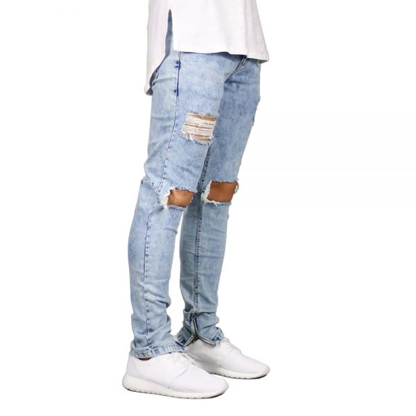 Men Jeans Pant Ankle Zipper Skinny Jeans