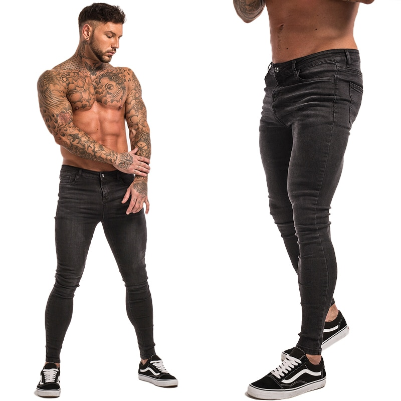 Men Skinny Jeans Distressed Denim Stretch Jeans
