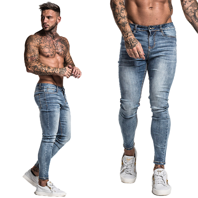 Men Skinny Jeans Distressed Denim Stretch Jeans