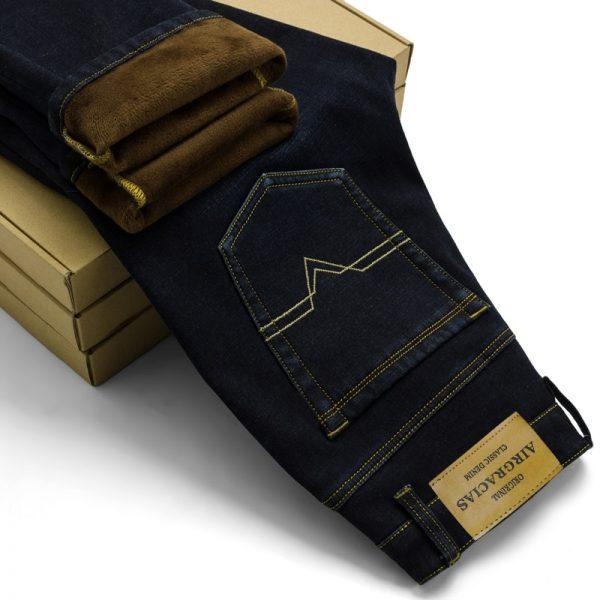 Men Warm Jeans Winter Jeans Thicken Fleece Pants