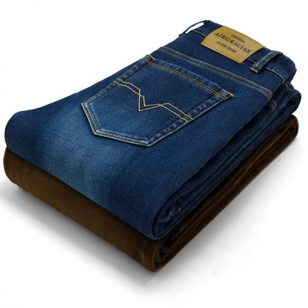 Men Warm Jeans Winter Jeans Thicken Fleece Pants