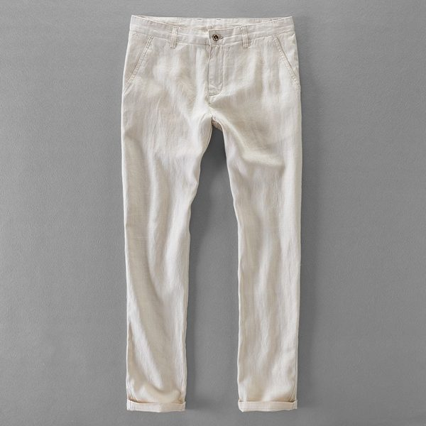 Linen Casual Pants Long Men Trousers