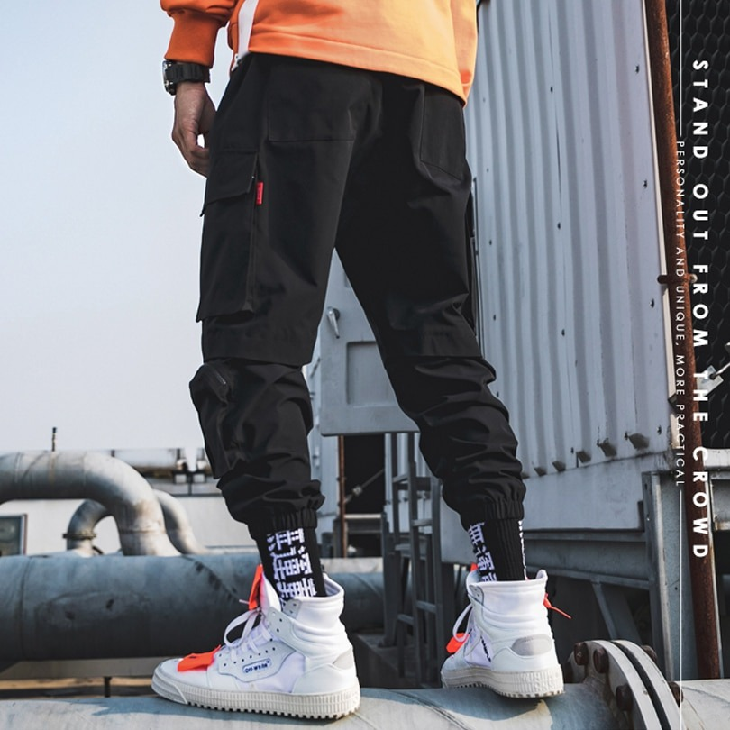 Spring Cargo Pants Many Pockets Joggers Trousers