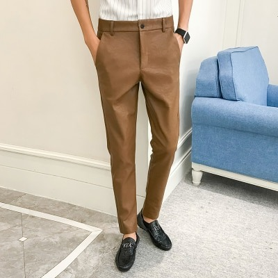 Feet Trousers, Khaki Pants, Korean Pants, Leather Pants, Men's Pants, Straight Pants