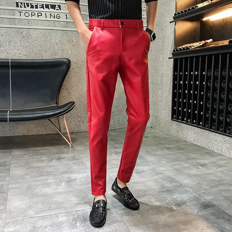 Korean Feet Trousers Men's Leather Pants