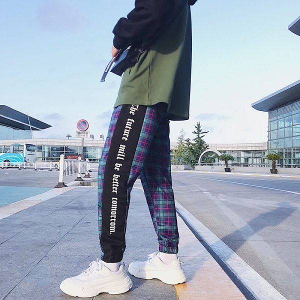 Joggers Pants, Men Pants, Patchwork Pants, Plaid Pants, Streetwear, Sweatpants, Trousers