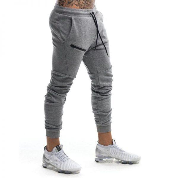 Men Zipper Pants Casual Elastic Pants