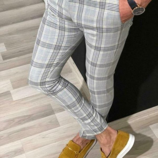 Checked Long Trousers Business Fashion Pants