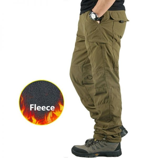 Fleece Cargo Pants Casual Thick Trousers