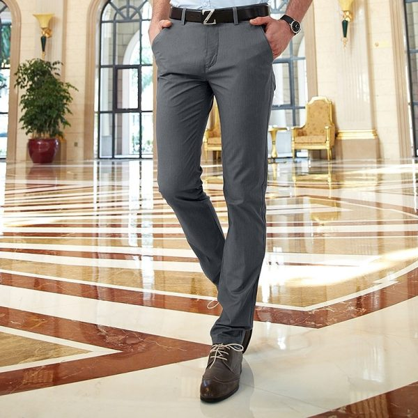 Casual Chino Pants Slim Fit Long Trousers