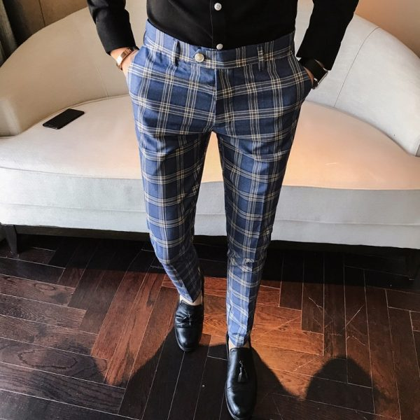 Men Dress Pant Check Suit Trousers