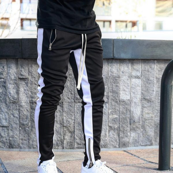 Mens Joggers Zipper Casual Pants