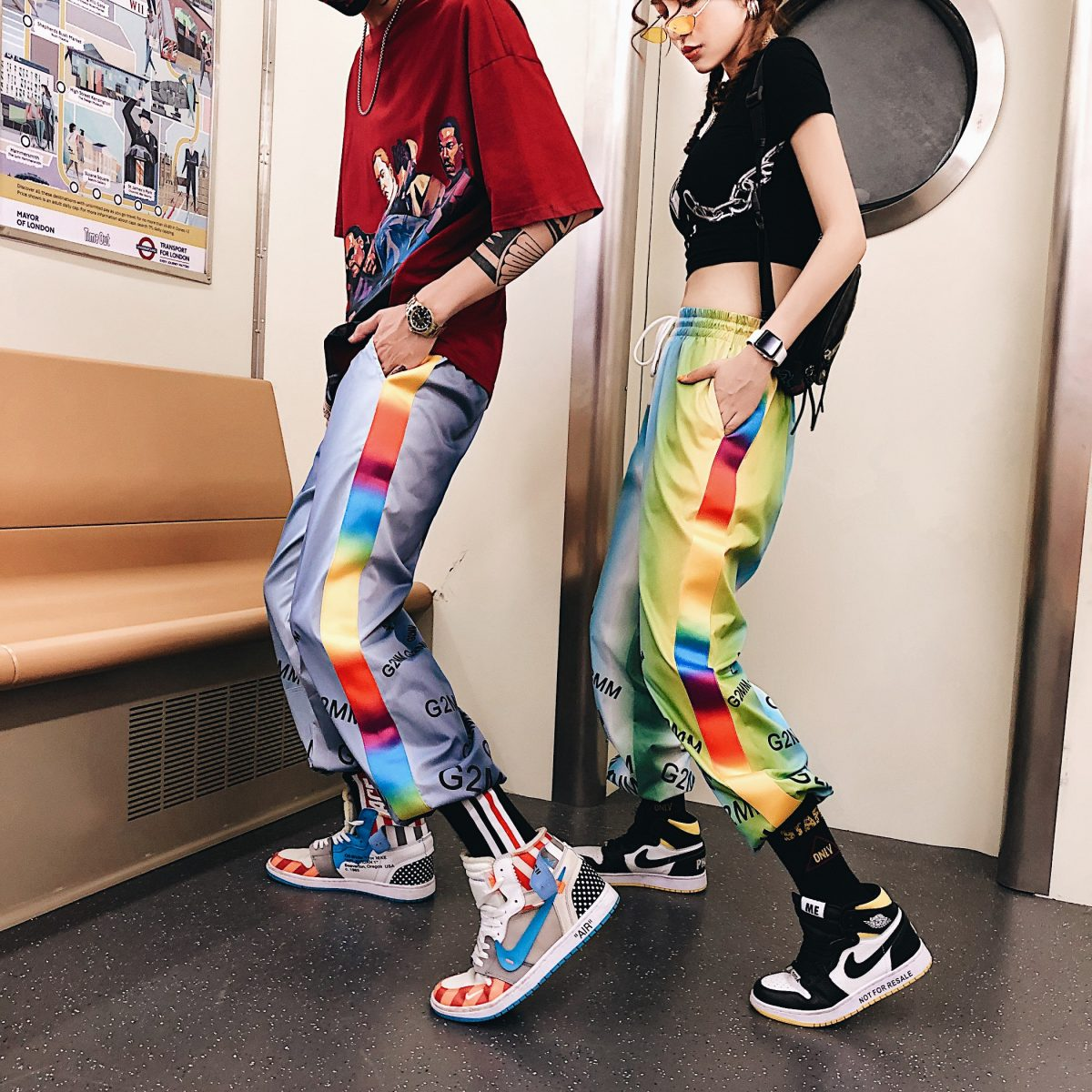 Gradient Colorful Joggers Casual Pants