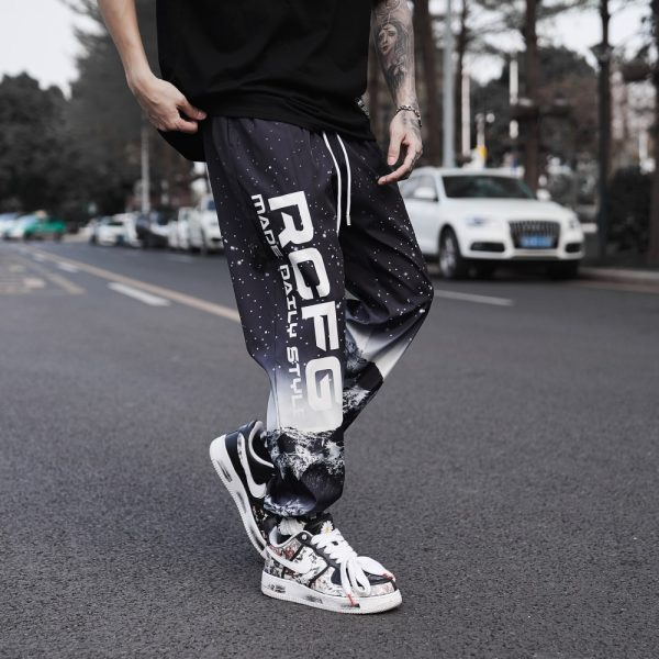 Gradient Letter Print Men Pants
