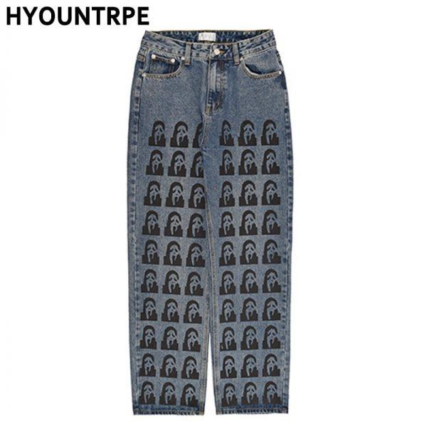Harajuku Printed Denim Pants