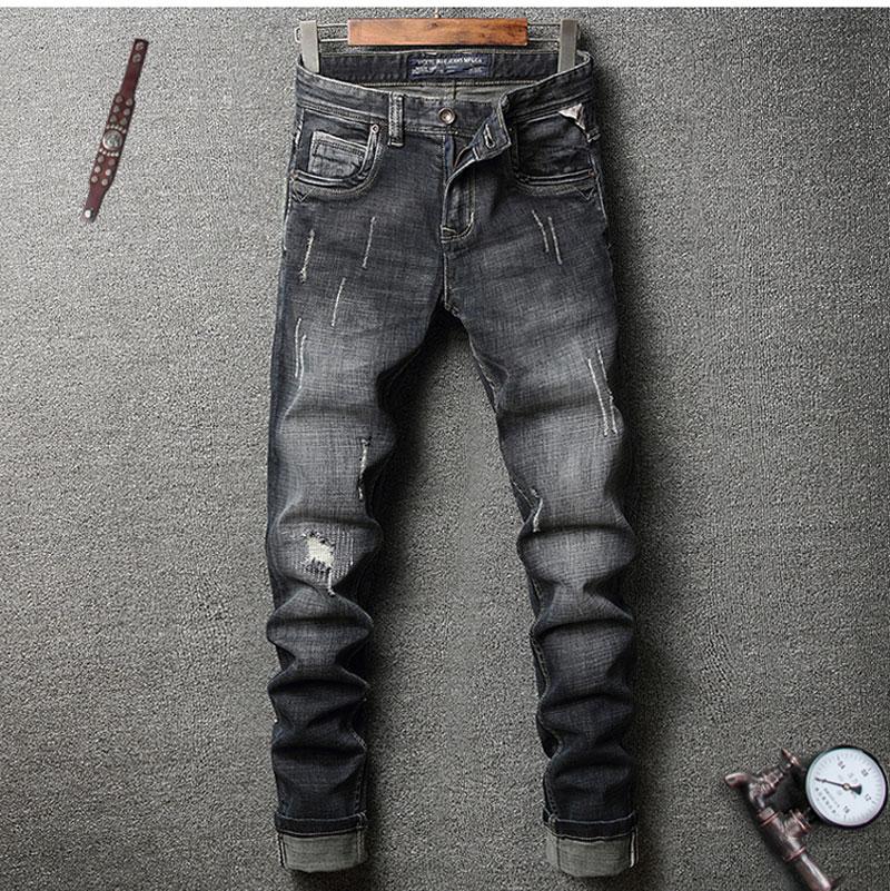 Italian Men Jeans Stretch Biker Jeans